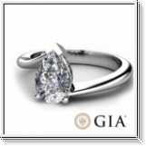 0.50 Ct. D SI1 PEAR DIAMOND ENGAGEMENT RING 14K GOLD